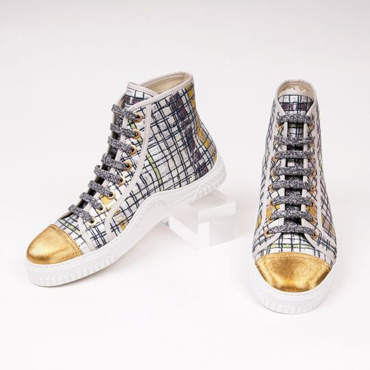 A Pair of High-Top Metallic Tweed Sneakers