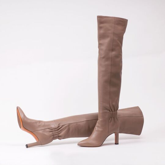 A Pair of Over Knee Boots Mauve