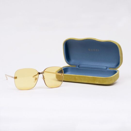 Frameless Oversized Yellow Sunglasses