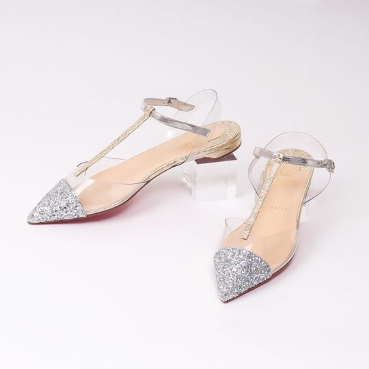 A Pair of Nosy Flat Glitter Ballerinas