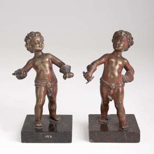 A Pair of Bronze Sculptures 'Fencing Boys'