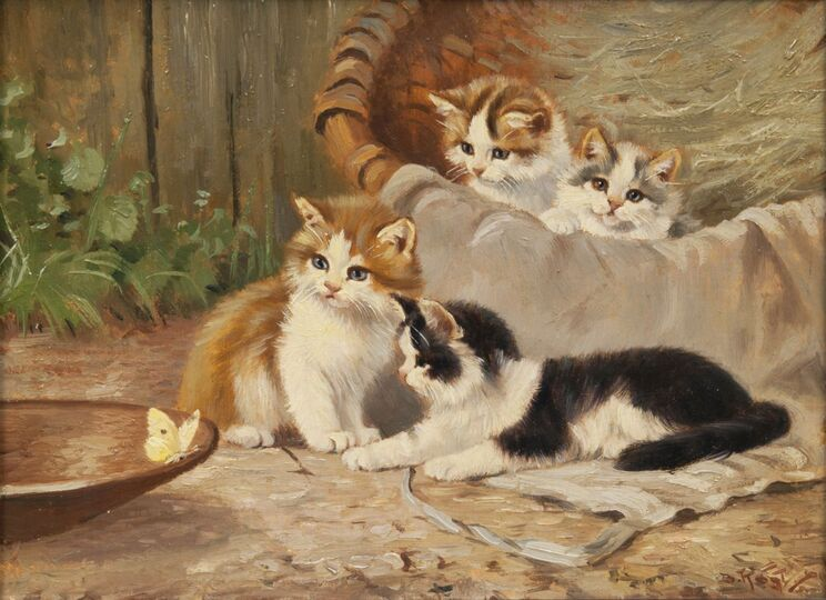 Four Kittens and a Butterfly