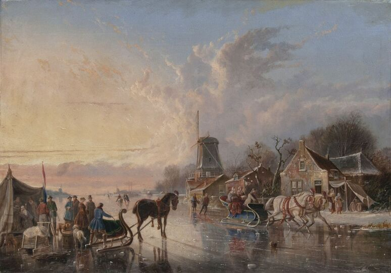 People making merry on a frozen River