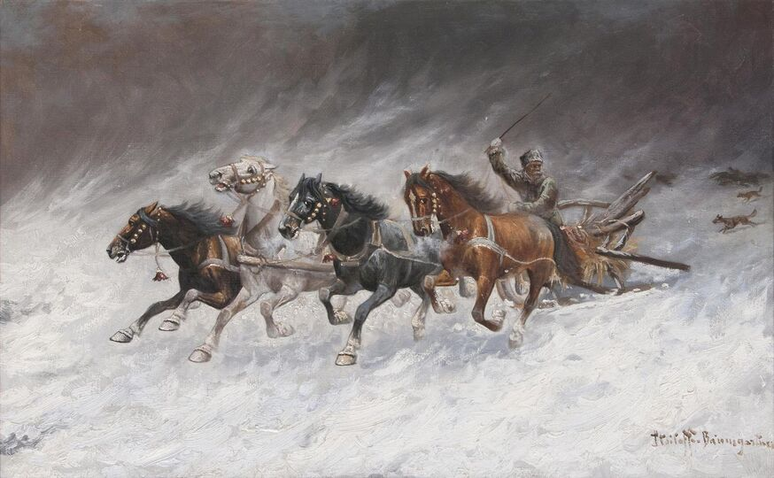 Quadriga chased by Wolves