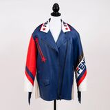 Limitierte Blue Mania Logo-trimmed Biker Jacket in Kooperation Hey Reilly - Bild 2