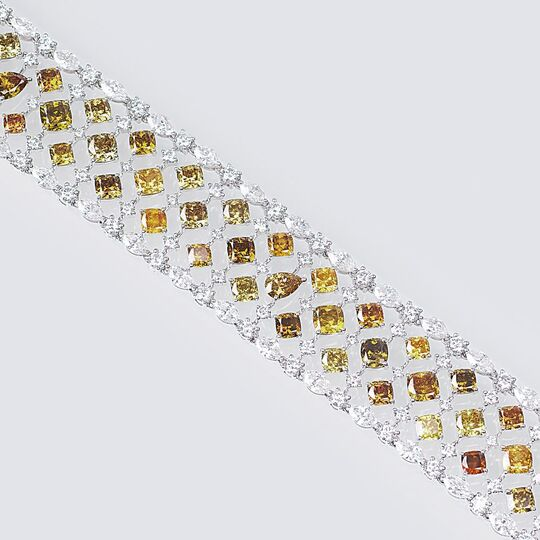 A Diamond Bracelet with Fancy and River - Rare White Diamonds