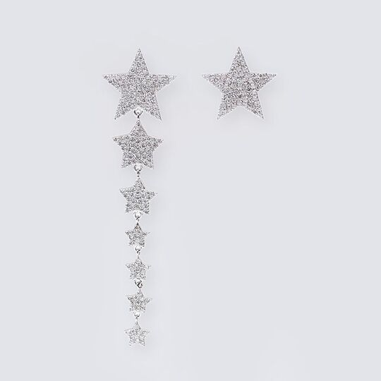 A Pair of Diamond Earrings 'Stars'