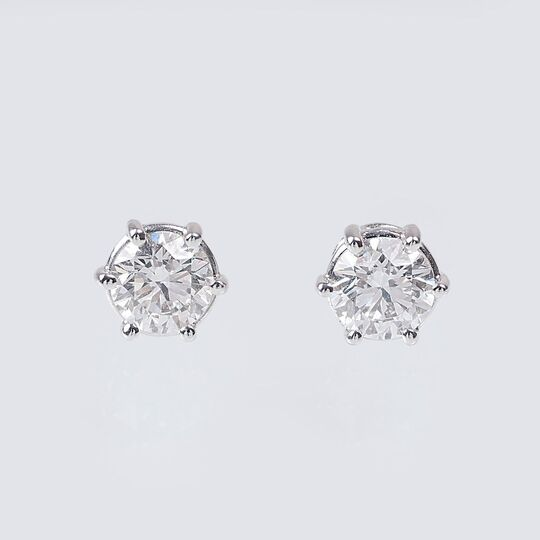 A Pair of Exceptional White Solitaire Earstuds