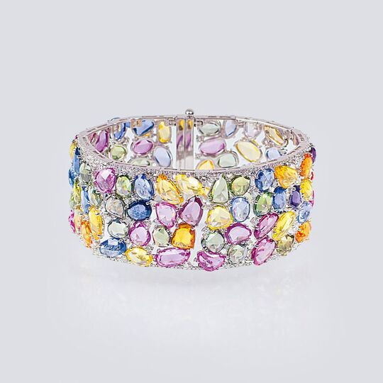 An exceptional Precious Stones Bracelet with multicoloured Sapphires and Diamonds