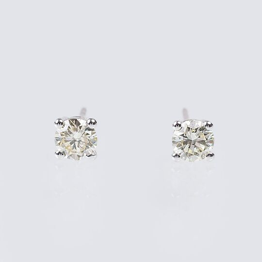 A Pair of Solitaire Diamond Earrings